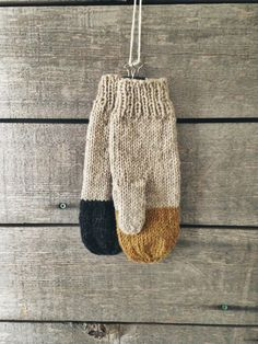 Colorblock Mittens in Midas Rustic Handknit by WholesomeHandknits