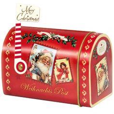 """Heidel """"Weihnachts-Nostalgie"""" Christmas Mailbox Metalldose in US-Briefkasten-Optik mit 7 einzeln gewickelten Vollmilch-Schokoladen mit Pralinen-Creme-Füllung und 2 einzeln verpackten Täfelchen aus Edel-Vollmilch-Schokolade"""