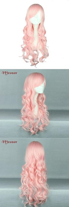 [Visit to Buy] MCOSER 70cm/60cm Long Wavy Pink Color Synthetic Cosplay Wig 100% High Temperature Fiber Hair WIG-408A #Advertisement
