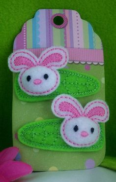 Hair Clip Barrette Clippie Embroidered Bunny by SANDRAINSTITCHES, $5.50