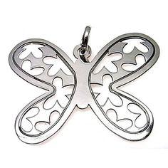 Colgante de plata de primera ley con forma de mariposa calada de 3 cm de largo y 4 cm de ancho