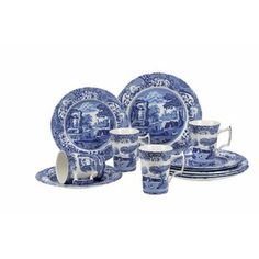 Blue Italian 12 Piece Bone China Dinnerware Set, Service for 4 by Spode Blue And White China, New Blue, Blue China, Italian Pasta Bowls, Blue And White Dinnerware, China Dinnerware Sets, Rustic Dinnerware, Pasta Bowl Set, Kitchen Canisters