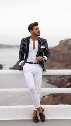 This elegant outfit is designed with high quality material. it is suitable for all kinds of occasion and comes in 2 pieces (jacket + white pant trouser). the blazee can also be worn with any kind of trouser or jeans.  for custom orders,  please feel free to start a conversation for further enquiries. i hope you have a pleasurable shopping experience. Blazer Outfits Men, Mens Fashion Blazer, Stylish Mens Outfits, Suit Fashion, Fashion Menswear, Classy Outfits, Men Blazer, Stylish Man, Business Casual Outfits Men