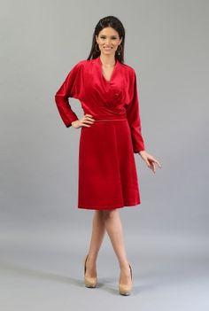 Rochie rosie din catifea R050 -  Ama Fashion Dresses For Work, Fashion, Dress, Moda, Fashion Styles, Fashion Illustrations