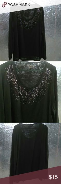 Cato Embellished Burnout Top Has rhinestones on upper top, burnout long sleeves, black. NWOT Cato Tops Tees - Long Sleeve