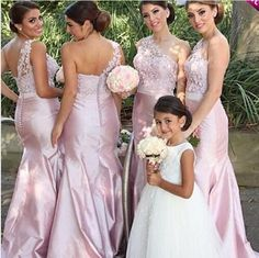 Pink 2016 Mermaid Long Bridesmaid Dresses One Shoulder Lace Ruffles Satin Wedding Bridal Gown Formal Evening Party Gowns Wedding Bridesmaid Dresses After Six Bridesmaid Dresses From Aprildress01, $115.58| Dhgate.Com