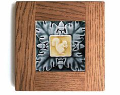 Craftsman Home-Bungalow Mission - Wall Decor - Oak framed Squirrel & Acorns - Handmade ceramic tile for your home
