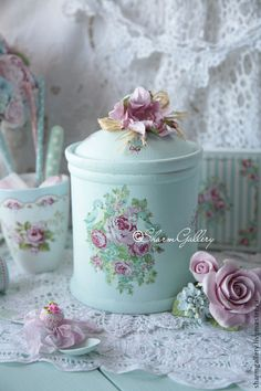 Lace ~ Crochet ~ Canister And Cup With Pink Roses. All Of It Is Do Pretty.....