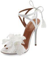 Aquazzura Floral Satin Bridal 105mm Sandal, White