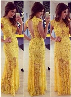 The yellow lace prom dress are fully lined, 4 bones in the bodice, chest pad in the bust, lace up back or zipper back are all available, total 126 colors are available. This dress could be custom made, there are no extra cost to do custom size and color. Description of yellow lace prom dress ...