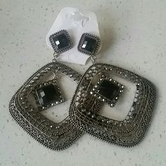 Black stored squared dangle earring Black stones black diamonds tarnish look earrings the back pieces don't match as seen in pic but no one sees that Jewelry Earrings