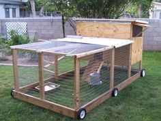 Chicken Coop - - Here you go LeAnn.chicken tractor Building a chicken coop does not have to be tricky nor does it have to set you back a ton of scratch. Chicken Coop Designs, Chicken Coop Decor, Chicken Barn, Diy Chicken Coop Plans, Chicken Coup, Portable Chicken Coop, Best Chicken Coop, Backyard Chicken Coops, Building A Chicken Coop