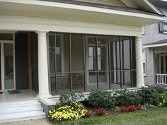 Useful source converted porch design modern Screened Front Porches, Enclosed Porches, Decks And Porches, House With Porch, House Front, Diy Balkon, Porch Kits, Porch Ideas, Porch Columns