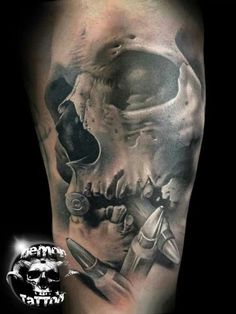 Realistic Demon Skull Tattoo