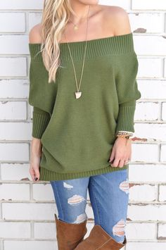 fall casual style | off the shoulder top | green kit sweater