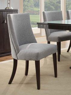 Homelegance Chicago Blue Grey Fabric Espresso Side Chair Set of 2