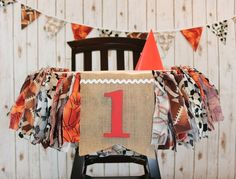 All sports fabric high chair bunting and banner set.  www.pattycakespapers.etsy.com