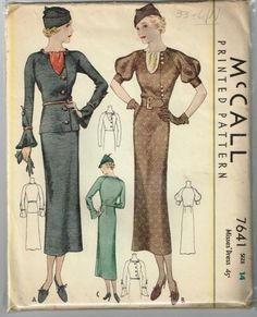 McCall 7641 vintage repro sewing pattern day dress or 2 piece skirt suit peplum waist wiggle skirt bust 32 reproduction Vintage Fur, Vintage Gowns, Vintage Mode, Dress Vintage, Vintage Clothing, 1930s Fashion, Retro Fashion, Vintage Fashion, Hollywood Glamour