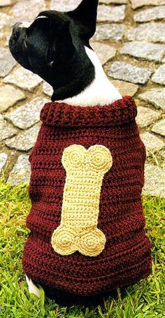 tejidos artesanales en crochet: traje canino modelo mister hueso canchero y origin...
