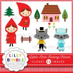 50% off Little Red Riding Hood clipart with wolf by LillyBimble