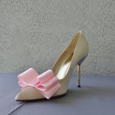 Pink Satin Ribbon Bow Shoe Clips Set Of Two by Chuletindesigns, $15.00