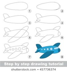 Simple level of difficulty. Gaming and education. Drawing tutorial for Aircraft. drawing Stock Photo and Image Portfolio by Kid_Games_Catalog Easy Drawing Tutorial, Drawing Lessons For Kids, Drawing Tutorials For Kids, Drawing Ideas, Drawing Drawing, Easy Drawings For Kids, Art For Kids, Crafts For Kids, Sketch Note