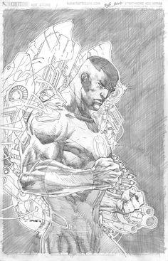 Justice League variant cover - Green Lantern - John Stewart by Jim Lee * Comic Book Artists, Comic Artist, Comic Books Art, Jim Lee Art, Superman, Batman, Black Comics, Green Lantern Corps, Art Basics