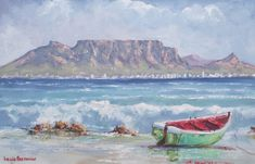 Table Mountain, Cape Town, South Africa, Boat, Painting, Painting Art, Boats, Paintings