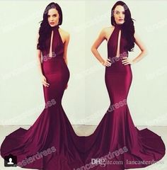 2015 Michael Costello High Neck Prom Dresses Mermaid Burgundy Satin Long Vestidos De Fiesta Backless Court Train Evening Gowns BO6082 from Lancasterdress,$99.03 | DHgate.com