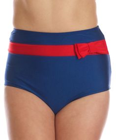 Another great find on #zulily! Fables by Barrie Navy & Red Frannie High-Waist Bikini Bottoms - Women & Plus by Fables by Barrie #zulilyfinds