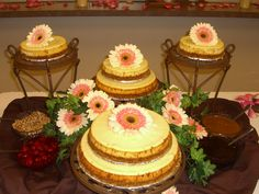 Beautiful cheesecake grooms cakes displayed on iron stands. Grooms Table, Home Bakery, Cheesecake Bars, Here Comes The Bride, Custom Cakes, Cheesecakes, Cake Decorating, Desserts, Wedding