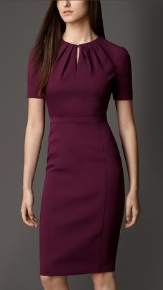 Pleat Neck Tailored Dress