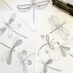"Jocelyn Proust auf Instagram: ""Dragonfly drawing. #jocelynproustdesigns #sketchbook #dragonflies #printpattern #surfacedesign"""
