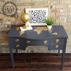 Queenstown Gray Desk with Gold World Map   General Finishes Design Center
