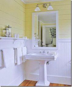 4 Fulfilled Tips: Bathroom Remodel Beadboard Kitchen Cabinets mobile home bathroom remodel rustic.Bathroom Remodel Design Before After. Small Bathroom Sinks, Bathroom Renos, Modern Bathroom, Bathroom Beadboard, Bathroom Ideas, Basement Bathroom, Beadboard Wainscoting, White Beadboard, Wainscoting Ideas
