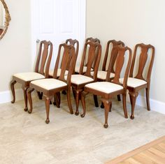 Craftique Mahogany Set Of 6 Dining Roomprettyruggeddesigns Pleasing Queen Anne Dining Room Set Design Inspiration