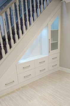 If you are looking for home storage ideas and good exploit for small spaces this article is for you and will give you 20 idea under stairs storage ideas with modern forms useful and practical. Shelves and storage spaces under . Stairs Design, Stair Decor, Home, Staircase Storage, Remodel, New Homes, House, House Interior, Basement Remodeling