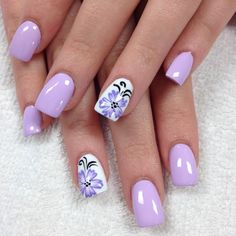 Watch out for wild flowers. They may look pretty, colourful and they will blind you with their sweet fragrance. But watch out. Nail Tip Designs, Purple Nail Designs, Fingernail Designs, Acrylic Nail Designs, Art Designs, Acrylic Nails, Flower Designs, Fancy Nails, Cute Nails