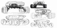 Prospector Support Unit sketches, Benjamin Last on ArtStation at https://artstation.com/artwork/prospector-support-unit-thumbnails