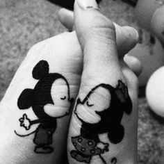 Mickey and minny tattoo. This is adorable I would do it on my shoulder blade though with my boyfriend