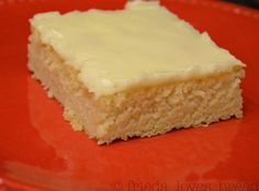 White Texas Sheet Cake.  This is sooo good and so easy to make. mmm... maybe topped with a berry.