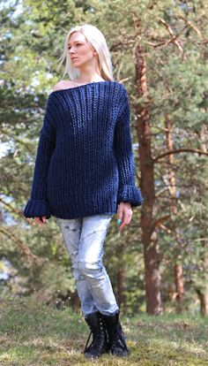PDF pattern. Hand knitted long sleeve sweater and by IlzeOfNorway