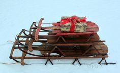 Stack of old sleds