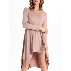 Chic Scoop Neck Asymmetrical Solid Color Women's Dress — 14.61 € Size: 2XL Color: PINK