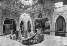 """Entrance to the German pavilion hall at the Turin Exposition (""""First International Exposition of Modern Decorative Arts""""). By German architect Peter Behrens, 1902."""