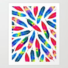 Exotic Parrot - $22 Parrot inspired watercolor feathers. Tropical decor #color #wallart #artprint #feathers #watercolor #watercolorfeathers #decor #bright #summer