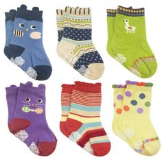 Wrapables Peek A Boo Animal NonSkid Toddler Socks Set of 6 Large -- To view further for this item, visit the image link.