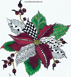 Whimsical Zentangle® Inspired design of a Christmas Poinsettia. Christmas Rock, Christmas Poinsettia, Whimsical Christmas, Christmas Design, Christmas Holidays, Christmas Crafts, Christmas Scenes, Xmas Drawing, Christmas Drawing