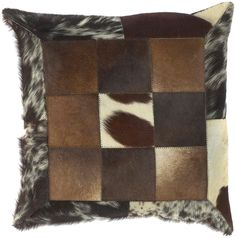 Surya Trail Captivating Cow Hide Pillow with Down Fill 18 by 18 inches, Neutral, Black, Green