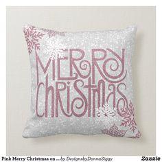 Pink Merry Christmas on White Glitter #ThrowPillow #Christmas #pink #white #glitter #holiday #pillow #zazzle #designsbydonnasiggy